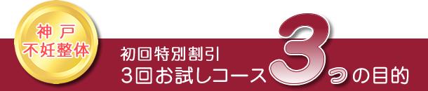 神戸不妊整体:初回特別割引「3回お試しコース3つの目的」