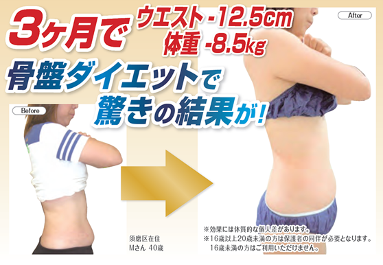 セルライト除去しながら脂肪燃焼しやすい体質を目指す骨盤矯正ダイエット結果3ヶ月でウエスト-12.5cm、体重-8.5kg 神戸市須磨区在住 40代